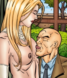 Emma Frost gets the hottest cunnilingus from Professor X!