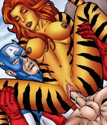 Captain America celebrates the success of his new movie fucking Tigra!