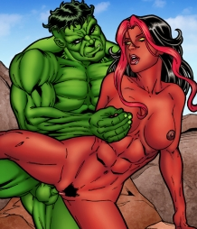 Red SheHulk enjoys getting boned hard by the Incredible Hulk!
