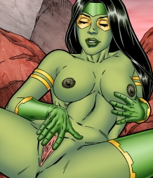 Gamora pleasures herself with a yellow cock shaped sex toy!