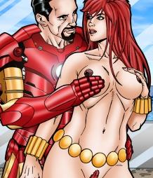 Iron Man enjoys the hard nipples and big tits on Black Widow