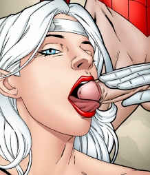 Silver Sable giving Spiderman a hot blowjob!