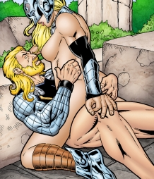 Female Thor gets her ass hammered by Thor!