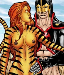 Tigra gets wild and kinky with the Black Knight's meat sword