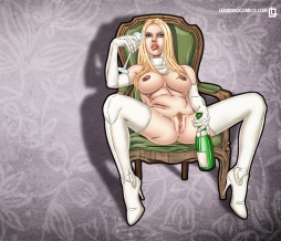 White Queen, Emma Frost, shares her bubbly in this wallpaper!